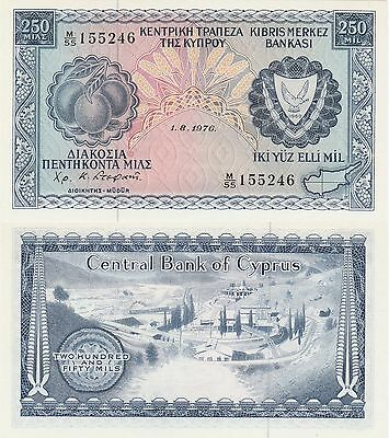 Cyprus 250 Mils Banknote,1.8.1976 Uncirculated Condition Cat#41-C-5246