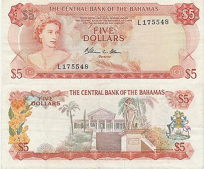 Bahamas 5 Dollars Banknote,1974 Very Fine Condition Cat#37-B-5548