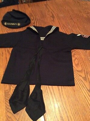 Vintage Boys Naval Outfit Top And Hat