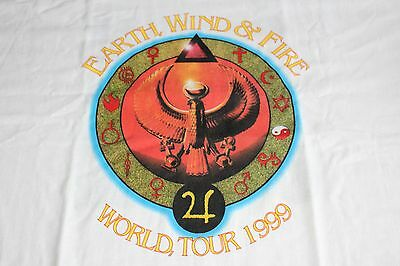 Earth Wind & Fire EWF / TOUR T-SHIRT / Tour 1999 - White - Size XL - USED