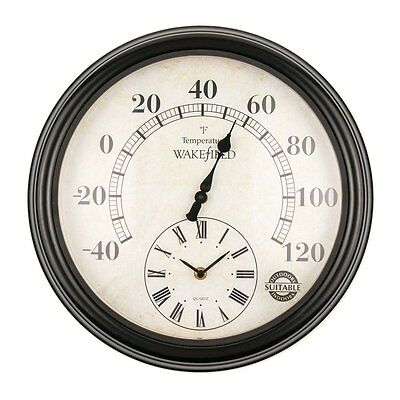 Luster Leaf 20057 Lincoln Thermometer with Outdoor/Indoor Clock 15 Inches
