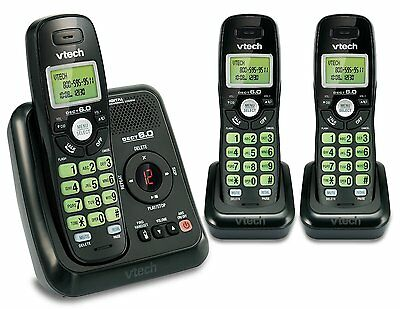Vtech DECT 6.0 3 Cordless Phone with Caller ID, ITAD, Black