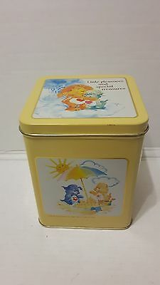 Vintage 1985 Care Bears Tin Container Little Pleasures Carlton Cards Rare Tender