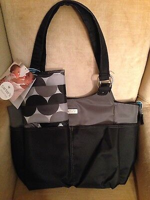 New Carter's Black Infant Baby Diaper Bag Tote with Changing pad