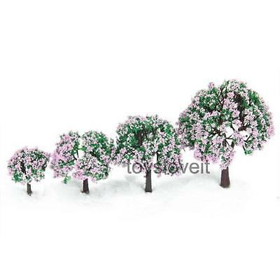 4 Mixed Scale Pink Flowers Model Trees Train Railways Building Scene Layout