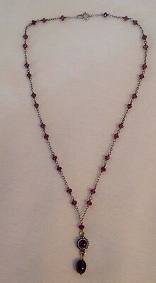Vintage Purple Amethyst Stone and 925 Sterling Silver Necklace