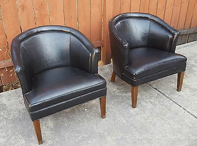 PAIR Mid Century Modern Black Barrel Back Rolling Lounge Chairs with Casters