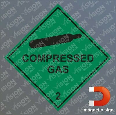 COMPRESSED GAS HAZARD WARNING SIGN MAGNETIC STICKER SAFETY NOTICE 100 X 100mm