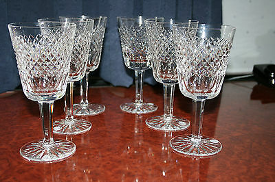 """Six Waterford Crystal """"cara"""" Large Wine Glasses In Superb Condition 7"""""""