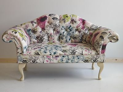 Small Settle in a multi floral cotton fabric blackberry