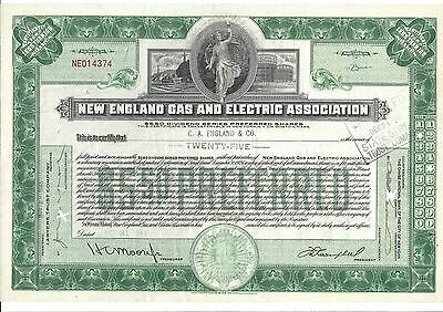 New England Gas And Electric Association....1947 Stock Certificate