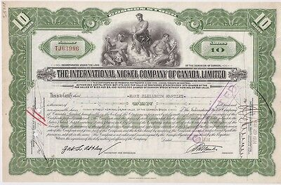 The International Nickel Company Of Canada Limited...1934 Stock Certificate