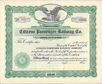 Citizens Passenger Railway Co....unissued Stock Certificate