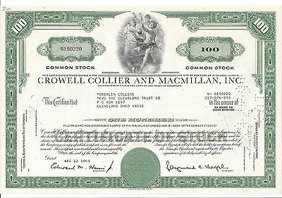 Crowell Collier And Macmillan Inc......1968 Stock Certificate