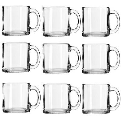 9 x Clear Glass Coffee Cups Cappuccino Mugs Hot Drink Cafe Hot Handle 227ml