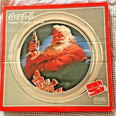 "Coca Cola ~ Authentic~ 13"" Clear Santa Claus Platter ~ New- In Box -Box Rough"