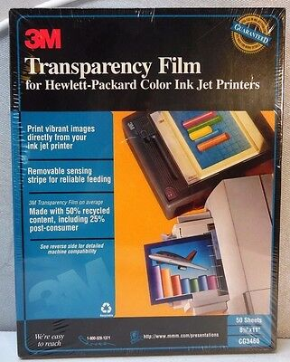 3M Transparency Film for HP Ink Jet Printers, CG3460, 50 Sheets Fast Shipping !!