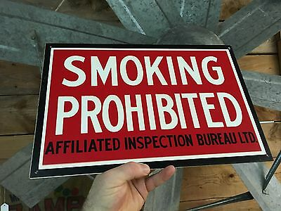 vintage 1950s NEW OLD STOCK Smoking Prohibited Enamel Sign Affiliated Inspection