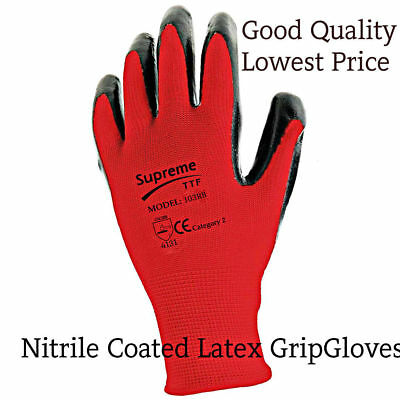 48 Pairs New Red Black Nitrile Coated Work Gloves Builders Construction Grip Xl
