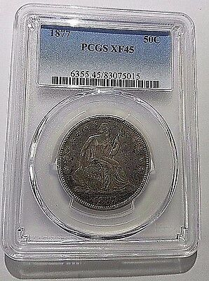 1877- P SEATED LIBERTY SILVER  HALF DOLLAR PCGS XF45 Free Shipping!