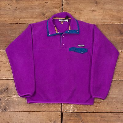 "Mens Vintage Patagonia Snap T Fleece Jacket Purple S 36"" R4936"