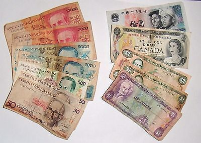 12 Foreign World Currency Paper Money Collection Lot Brasil Jamaica Canada China