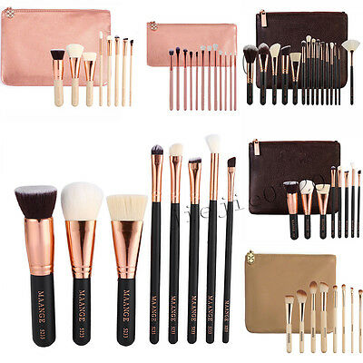 MAANGE Rose Golden Makeup Cosmetic Complete Eye Set Power Brushes with Case Bag