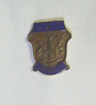 Hudson's Bay Company Long Service Lapel Pin 10 kt. Gold Blue Enamel Coat of Arms