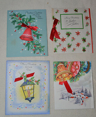 Lot of 4 1940's Vintage Cards Christmas Holiday attached red satin ribbon