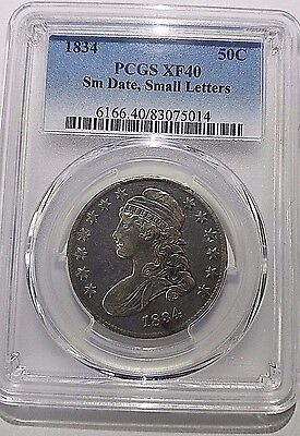 1834 Small Date, Small Letters Bust Half Dollar PCGS XF40 Free Ship!