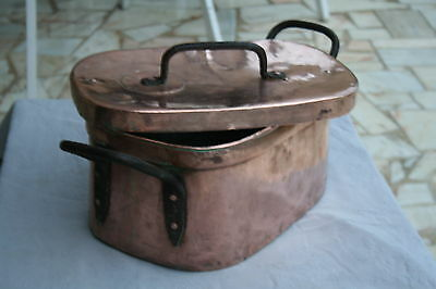 "ANTIQUE FRENCH LARGE COPPER STEW POT CASSEROLE LID ""DAUBIERE""18th C IRON HANDLES"