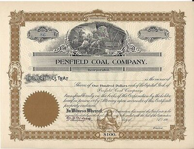 Penfield Coal Company.......early 1900's Unissued Stock Certificate