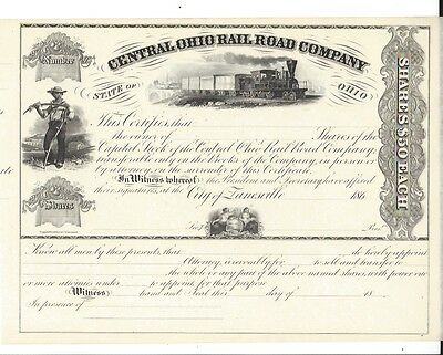 Central Ohio Rail Road Company.....1860's Unissued Stock Certificate