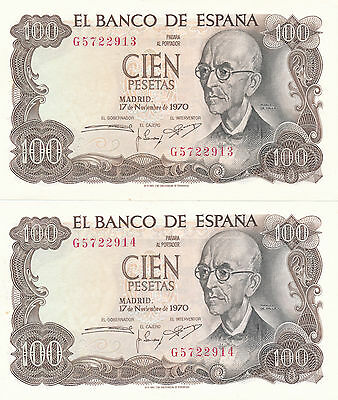 Spain 100 Pesetas 1970 2 in a row