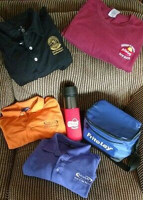 Lot of 6 Frito Lay Items - XL and 2XL Shirts, 1 Lunch Bag Tote, 1 Water Bottle