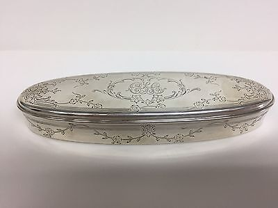Sterling Silver Engraved Oval Covered Box Vintage