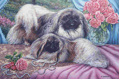 Beautiful Pekingese Dogs in Victorian Setting - LARGE New Blank Note Cards