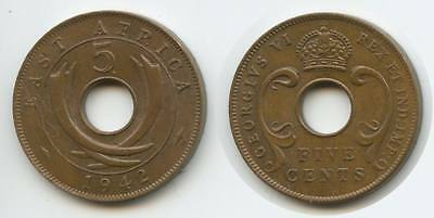 G11755 - British East Africa 5 Cents 1942 SA KM#25.2 XF Condition George VI.