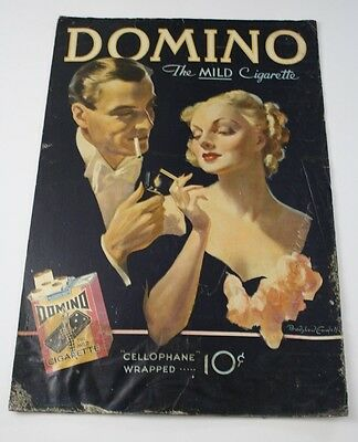 Original Large 1930s Bradshaw Crandell Pinup Advertising Sign  Domino Cigarettes