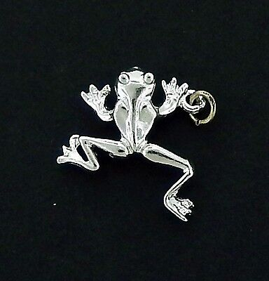 Jumping Frog Charm #3 / Pendant in Sterling    Vintage  3/D Charm