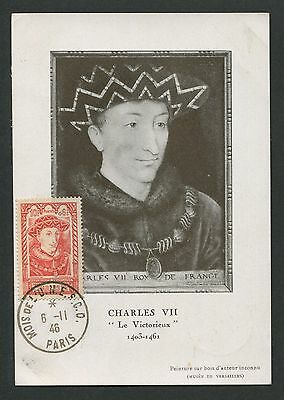 FRANCE MK 1946 CHARLES VII ROI KING MAXIMUMKARTE CARTE MAXIMUM CARD MC CM d3830