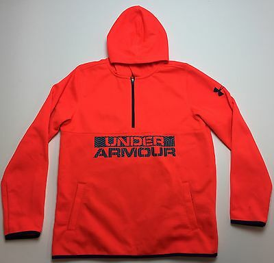 Under Armour Boys Neon Orange Hoodie Sweatshirt Size Youth Large
