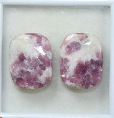 Pair  42.25 Cts. 100 % Natural Lepidolite Untreated Cushion Cab Loose Gemstones