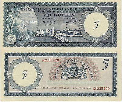 Netherlands Antilles 5 Gulden Banknote,1962 Extra Fine Condition Cat#1-A