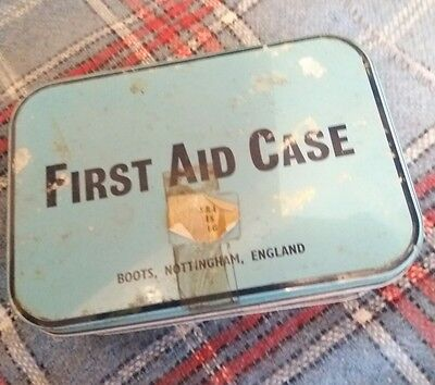 Vintage Boots First Aid Case + contents 2 triangle bandages+flowers of sulphur