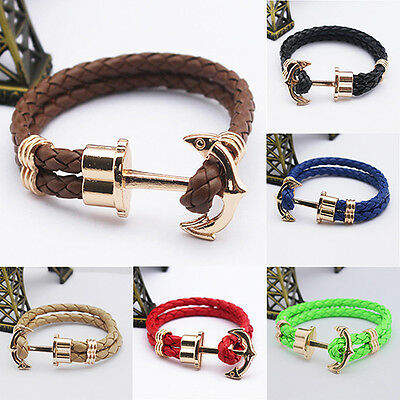 Anchor Leather Braided Rope Multilayer Silver Wrap Around Gold Cuff Bracelet UK