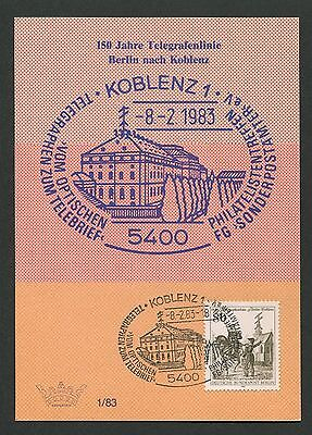 BERLIN MK 1983 693 TELEGRAPHIE PFERD HORSE MAXIMUMKARTE MAXIMUM CARD MC CM d3539