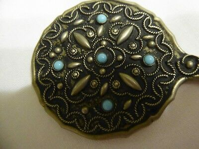 Miniature Stylish Hand Mirror Wire Work & Faux Turquoise