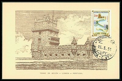 CABO VERDE MK 1955 TORRE BELEM TURM TOWER CARTE MAXIMUM CARD MC CM bg81