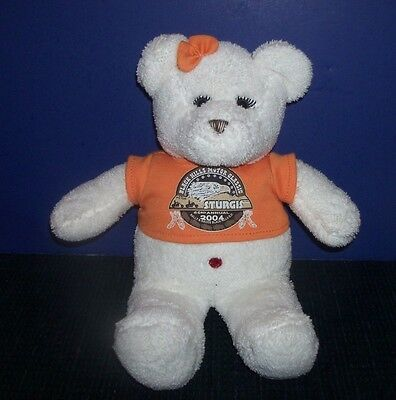 Official 2004 Sturgis Motorcycle Rally Teddy Bearwith Orange T Shirt & Bow